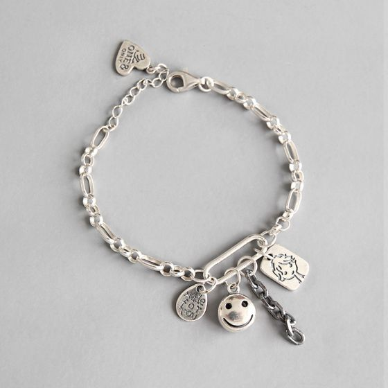 Retro Smile Face Waterdrop Heart Doll Tag 925 Sterling Silver Chain Bracelet