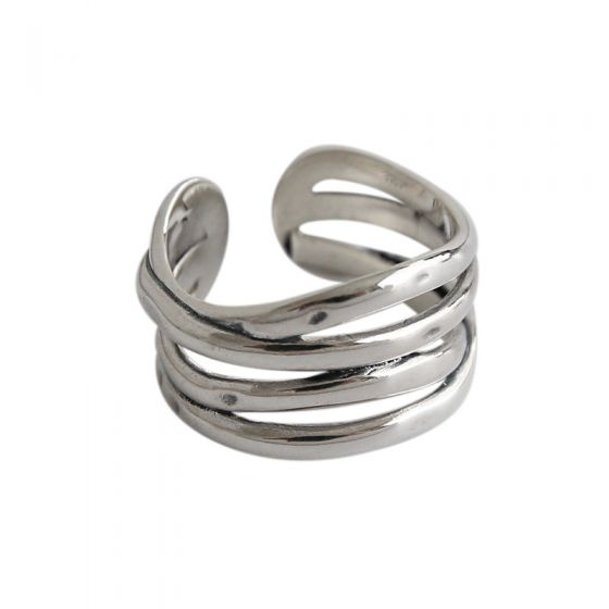 Retro Multi Lines Twining 925 Sterling Silver Adjustable Ring