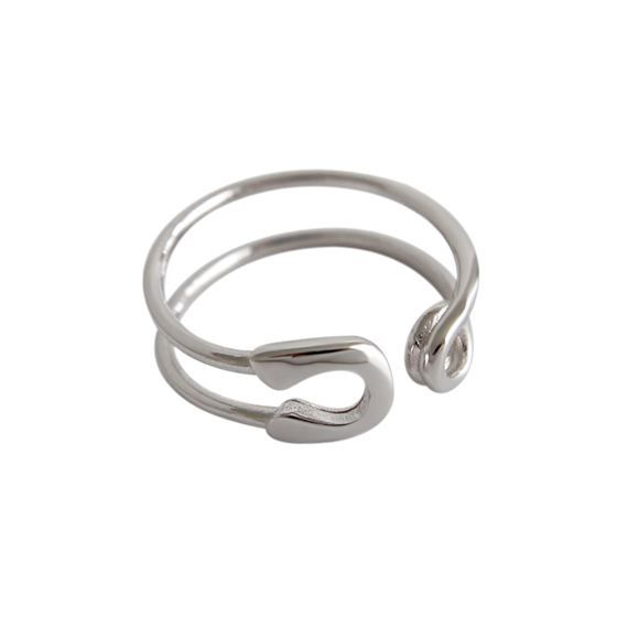 Simple Safety Pin Hollow 925 Sterling Silver Adjustable Ring