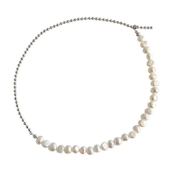 Elegant Irregular Natural Pearls 925 Sterling Silver Choker Necklace