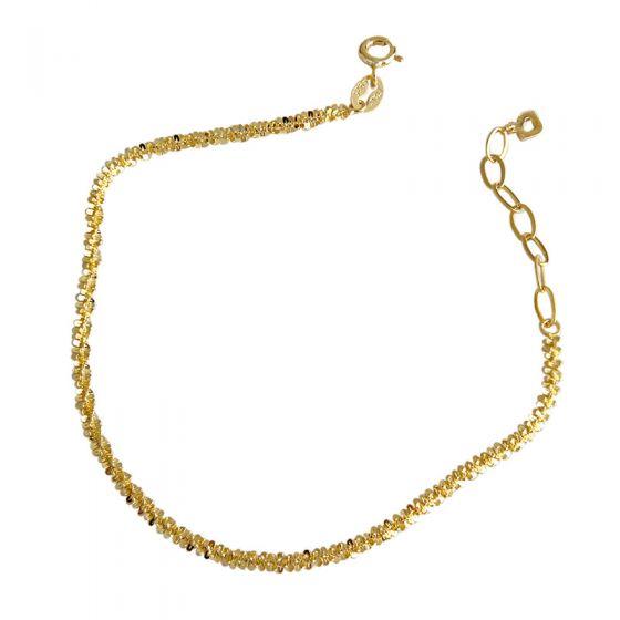 Simple Nugget Crisscross 925 Sterling Silver Bracelet