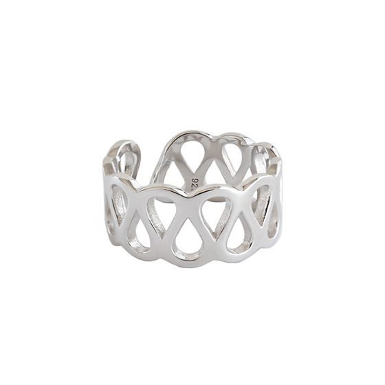 Simple Hollow Cross Wide 925 Sterling Silver Adjustable Ring