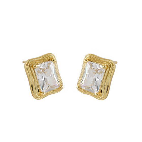 Office Geometry CZ Rectangle 925 Sterling Silver Stud Earrings