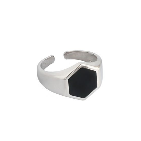 Office Geometry Black Hexagon 925 Sterling Silver Adjustable Ring