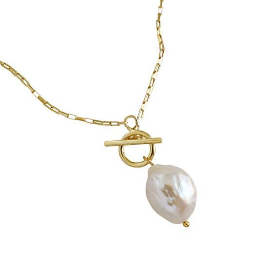 Fashion Irregular Natural Pearl 925 Sterling Silver Necklace
