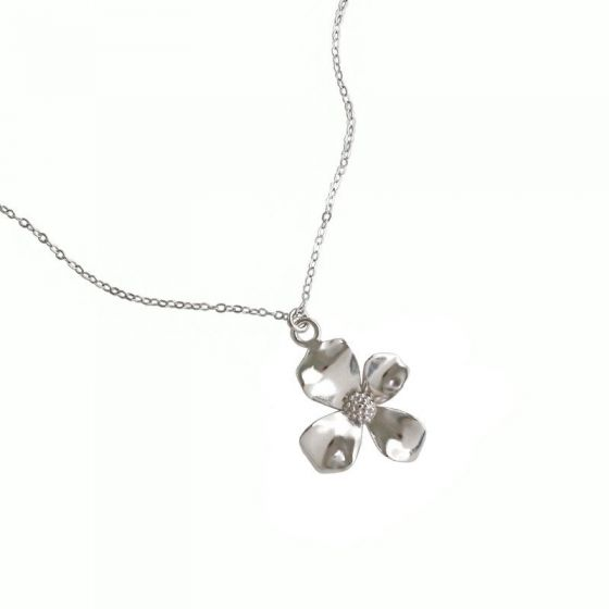 Beautiful Rose Flower Gemstone Pendant Necklace 18k White /& Rose Gold Over 925 Sterling Silver for Girls