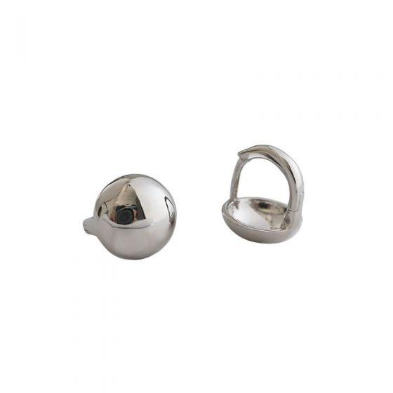 Simple Beads 925 Sterling Silver Hoop Earrings