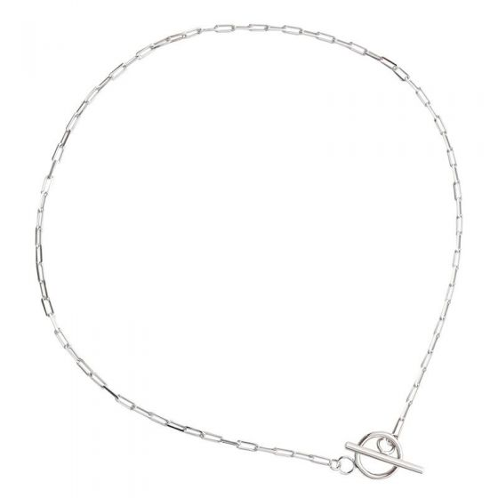 Simple TO Shape Chian 925 Sterling Silver Choker Necklace
