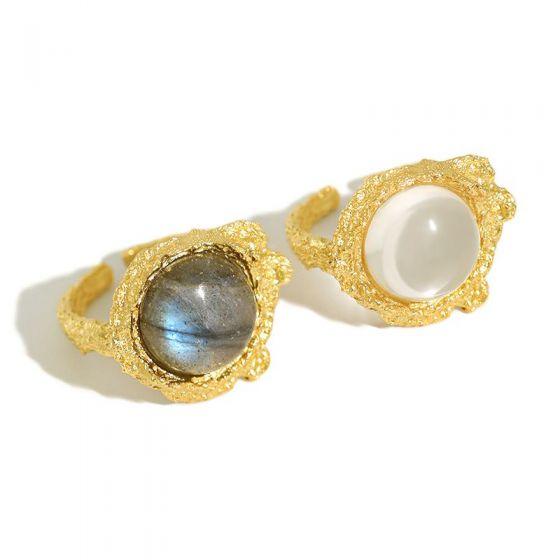 Elegant Round Natural Anemousite/Crystal CZ 925 Sterling Silver Adjustable Ring