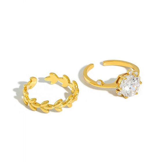Fashion Olive Branch CZ 925 Sterling Silver Adjustable Ring