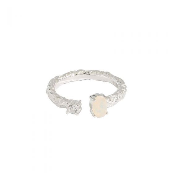 Simple CZ Irregular Created Opal 925 Sterling Silver Adjustable Ring