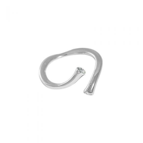 Simple CZ Irregular Cross 925 Sterling Silver Adjustable Ring