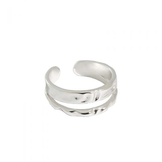 Irregular Double Layer 925 Sterling Silver Adjustable Ring
