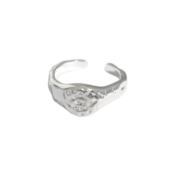 Fashion Textured Surface 925 Sterling Silver Adjustable Ring