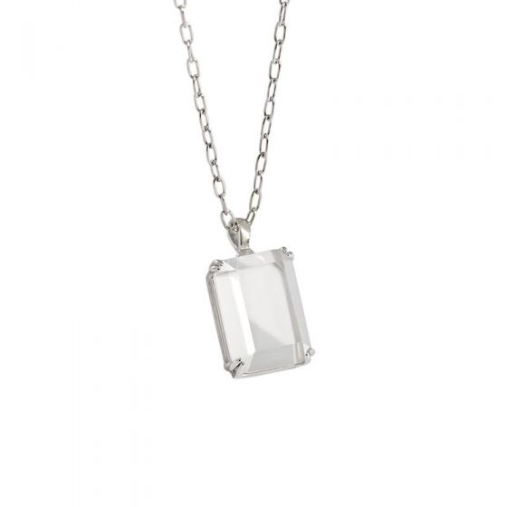 Simple Geometric Square Golden Sandstone White Crystal 925 Sterling Silver Necklace
