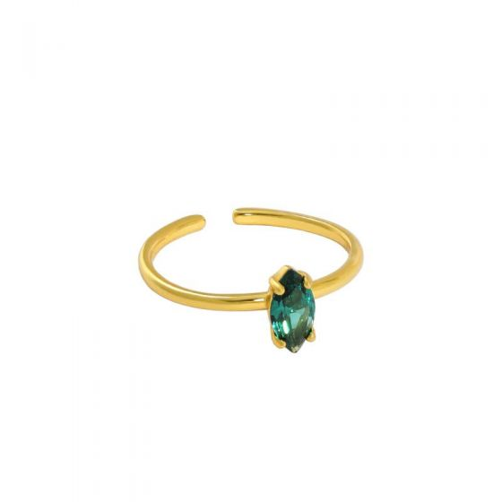 Simple Oval Created Tourmaline 925 Sterling Silver Adjustable Ring