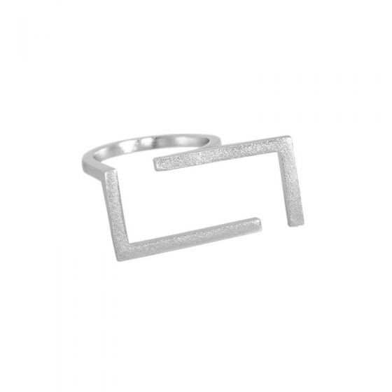 Casual Geometry Hollow Rectangle 925 Sterling Silver Adjustable Ring