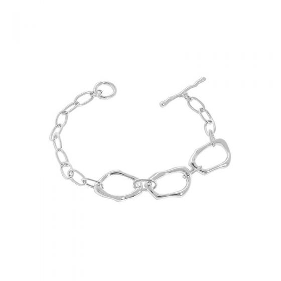Irregular Casual Hollow Chain 925 Sterling Silver Bracelet
