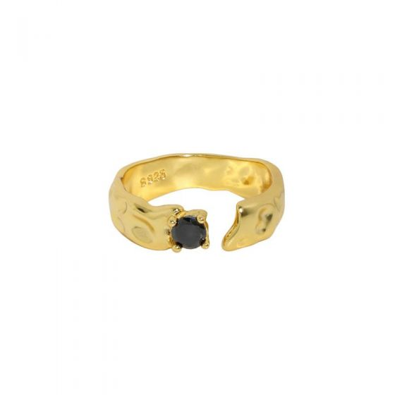 Black CZ Irregular Fashion 925 Sterling Silver Adjustable Ring
