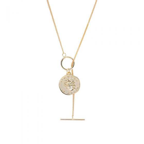 Modern Portrait Circle 925 Sterling Silver Necklace
