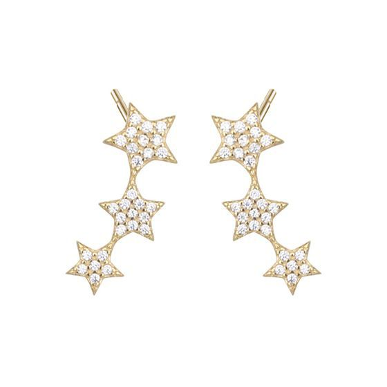 Elegant CZ Stars 925 Sterling Silver Dangling Earrings