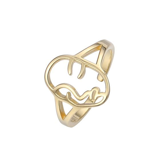 Fashion Hollow Portrait 925 Sterling Silver Adjustable Ring