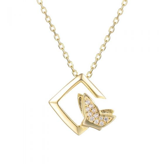Geometry CZ Flying Butterfly 925 Sterling Silver Necklace