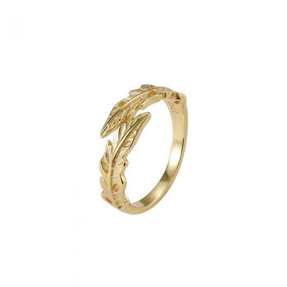 Golden Leaf Branch 925 Sterling Silver Adjustable Ring