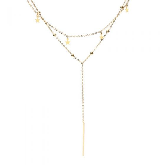 Double Layer Stars Y Shape 925 Sterling Silver Necklace