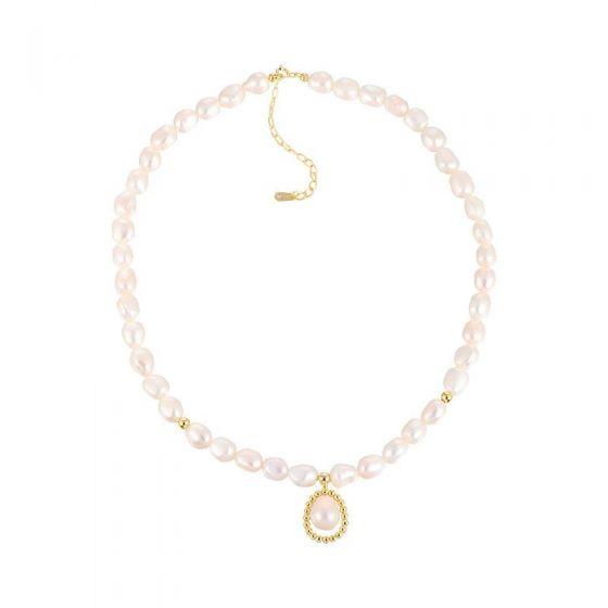 Elegant Waterdrop Natural Pearl 925 Sterling Silver Necklace