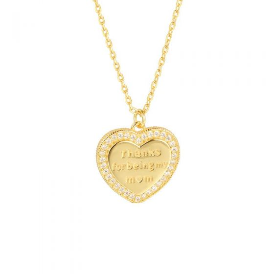 Monther's Day CZ Heart Letters 925 Sterling Silver Necklace