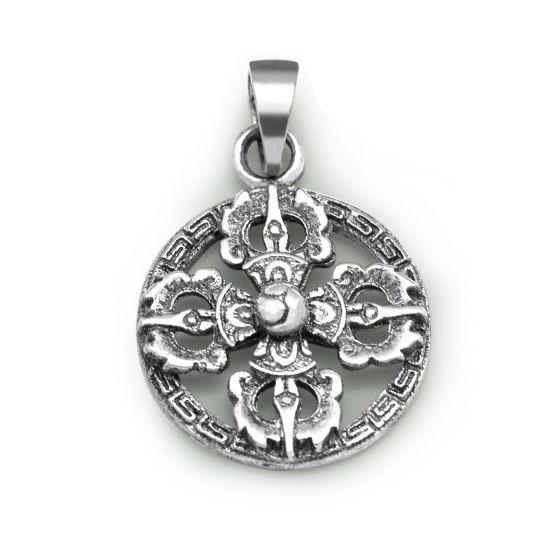 Vintage Round Vajra Cross 925 Sterling Silver Pendant