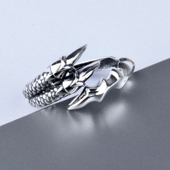 Vintage Men Dragon Claw 925 Sterling Silver Adjustable Pinky Ring
