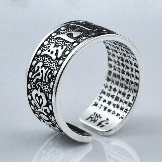 Men The Heart of Prajna Paramita Buddhism 925 Sterling Silver Adjustable Ring