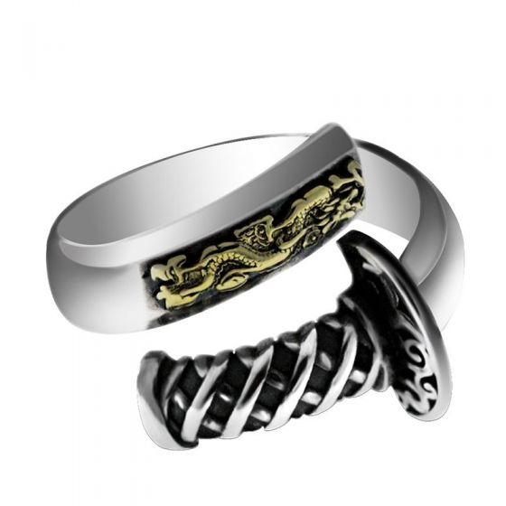 Men's Vintage Samurai Sword 925 Sterling Silver Adjustable Ring
