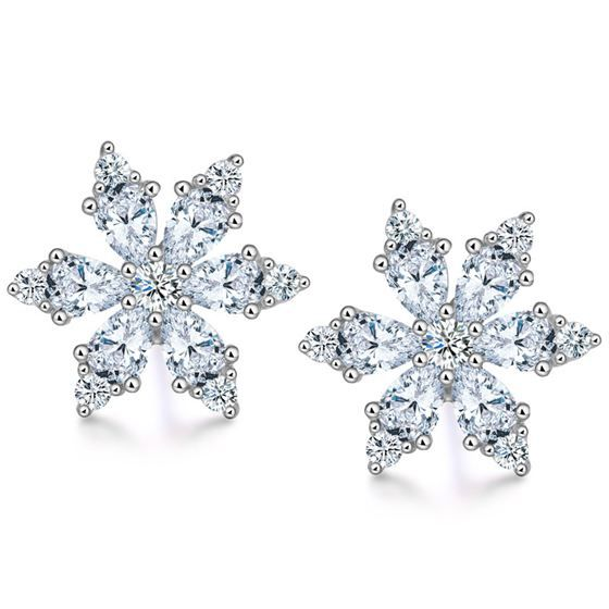 Winter CZ Snowflake Girl 925 Sterling Silver Stud Earrings