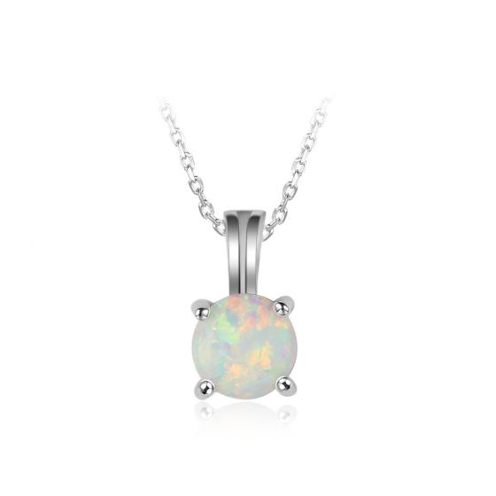 Simple Round White Created Opal 925 Sterling Silver Necklace