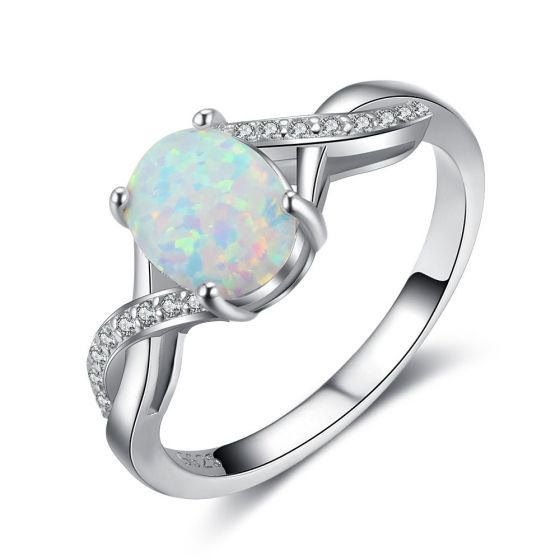 Fashion Oval White Created Opal 925 Sterling Silver Twisted CZ Ring