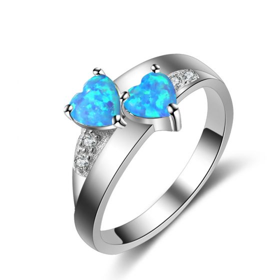 Two Hearts Blue Created Opal 925 Sterling Silver CZ Ring