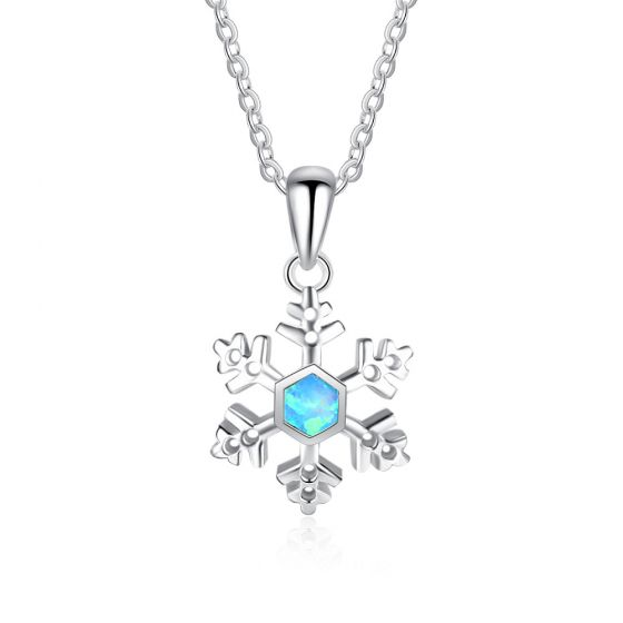 New Snowflake Created Opal 925 Silver Necklace