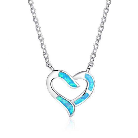 Sweet Hollow Heart Created Opal 925 Silver Necklace