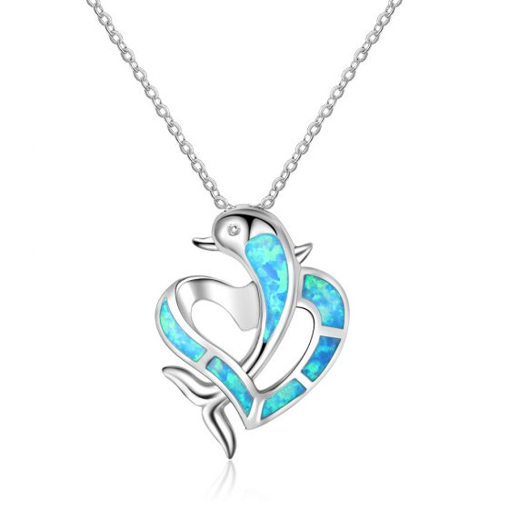 Cute Party Blue Dolphin From Heart Created Opal 925 Silver Necklace