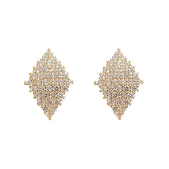 Geometric CZ Rhombus 925 Sterling Silver Stud Earrings