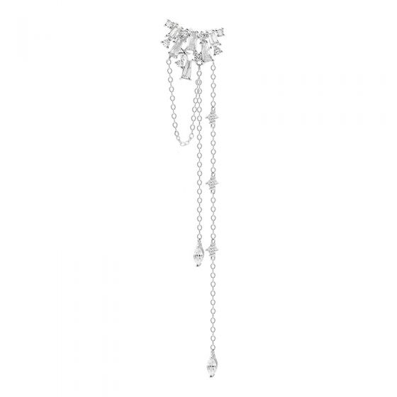 2019 New Elegant CZ Tassels 925 Sterling Silver Dangling Earrings(Single Piece)