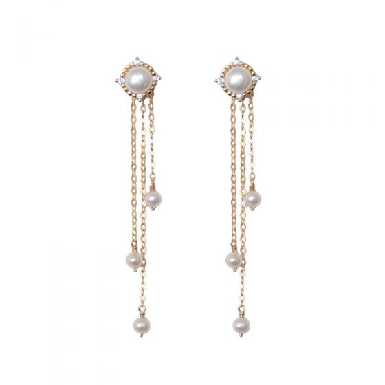 2019 New Natural Pearl Tassels 925 Sterling Silver Dangling Earrings