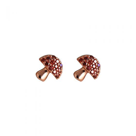 Sweet Red CZ Mini Mushroom 925 Sterling Silver Stud Earrings