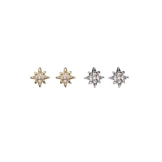Minimalism CZ Stars 925 Sterling Silver Stud Earrings