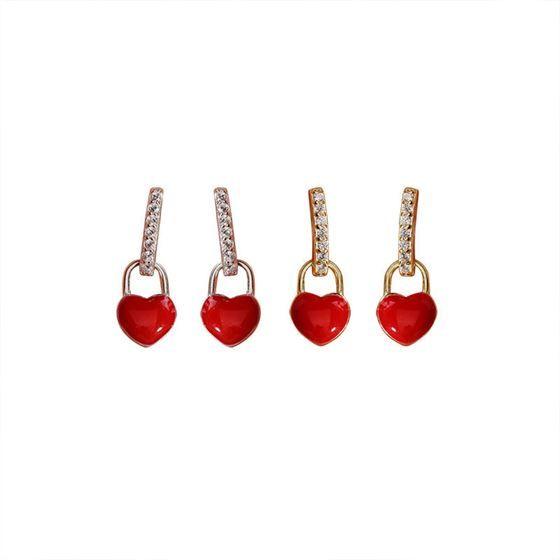 Red Heart CZ Girl 925 Sterling Silver Dangling Earrings