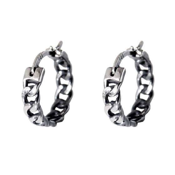 Fashion Hollow Chain Circles 925 Sterling Silver Hoop Earrings
