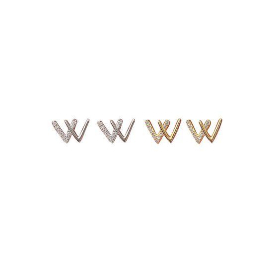 ファッションレターW 925スターリングシルバースタッドピアス